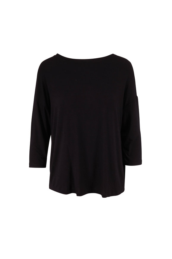 Majestic Black Superwashed Boatneck T-Shirt