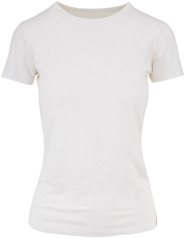 Majestic White Stretch Linen Short Sleeve T-Shirt