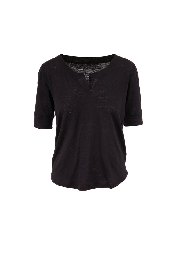 Majestic Black Stretch Linen Three-Quarter Sleeve Henley