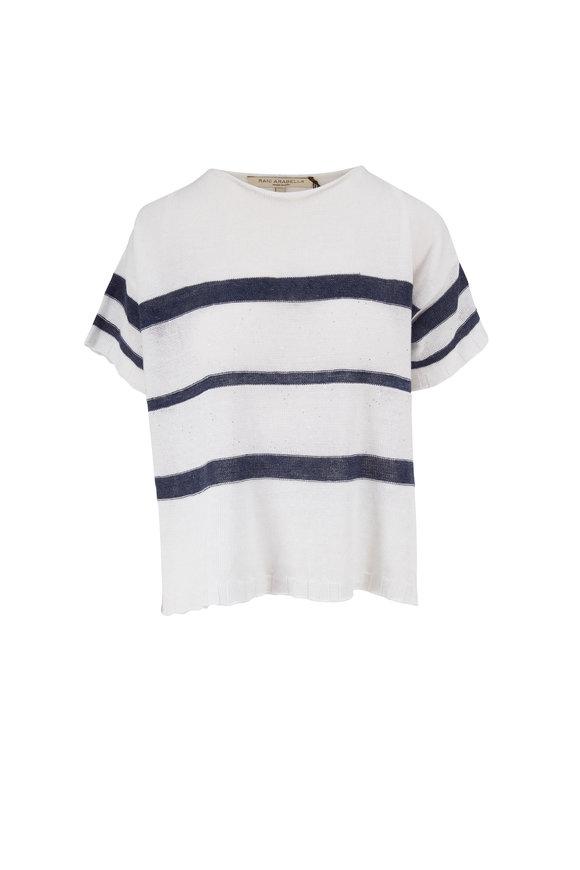 Rani Arabella White Linen & Cotton Stripe Paillette Knit T-Shirt