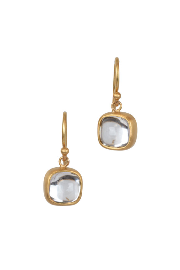 Caroline Ellen 22K Yellow Gold Zircon Drop Earrings
