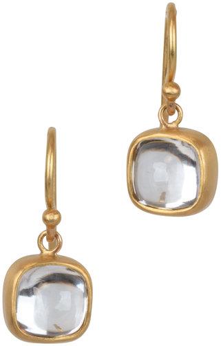 Caroline Ellen 22K Yellow Gold Zircon Drop Earrings
