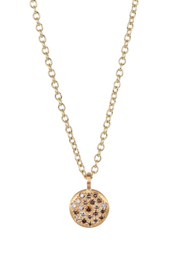 Caroline Ellen 20K Yellow Gold Cognac Diamond Pendant Necklace