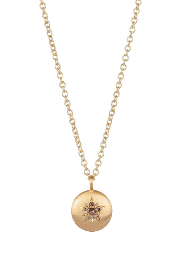 Caroline Ellen 20K Yellow Gold Cognac Diamond Star Necklace