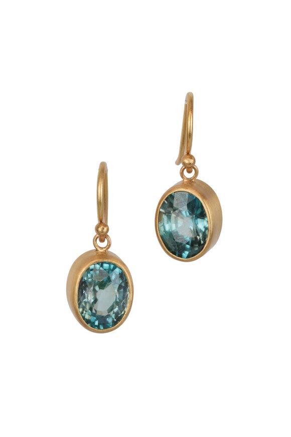 Caroline Ellen 22K Yellow Gold Natural Blue Zircon Earrings