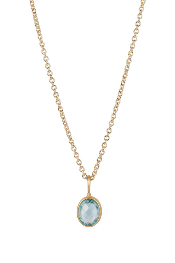 Caroline Ellen 22K Yellow Gold Blue Zircon Pendant Necklace