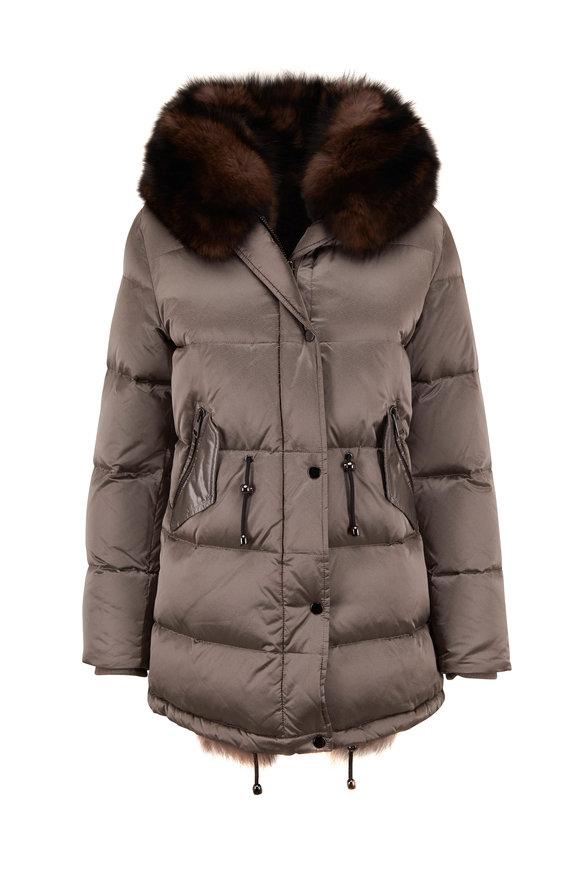 Viktoria Stass Sable Beige Nylon & Fur Hooded Puffer Coat