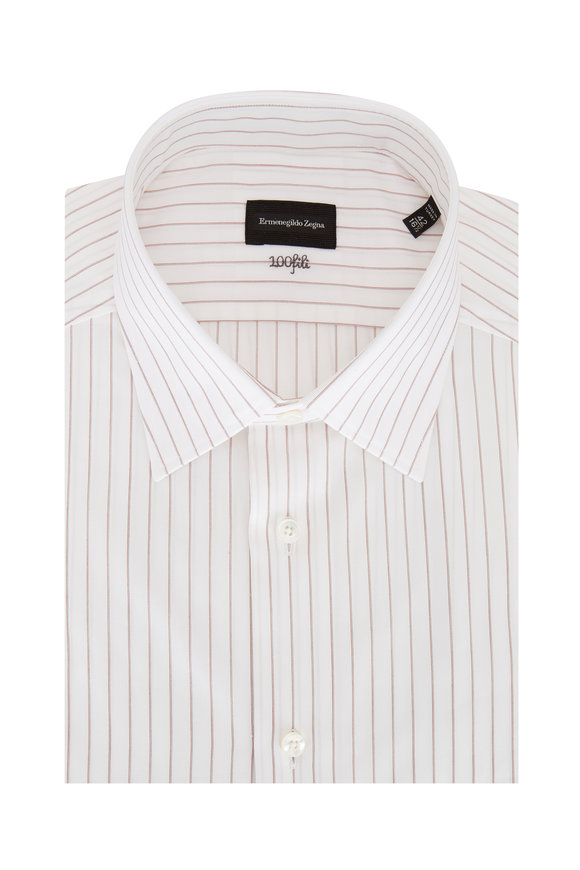 Ermenegildo Zegna Light Brown Striped Sport Shirt