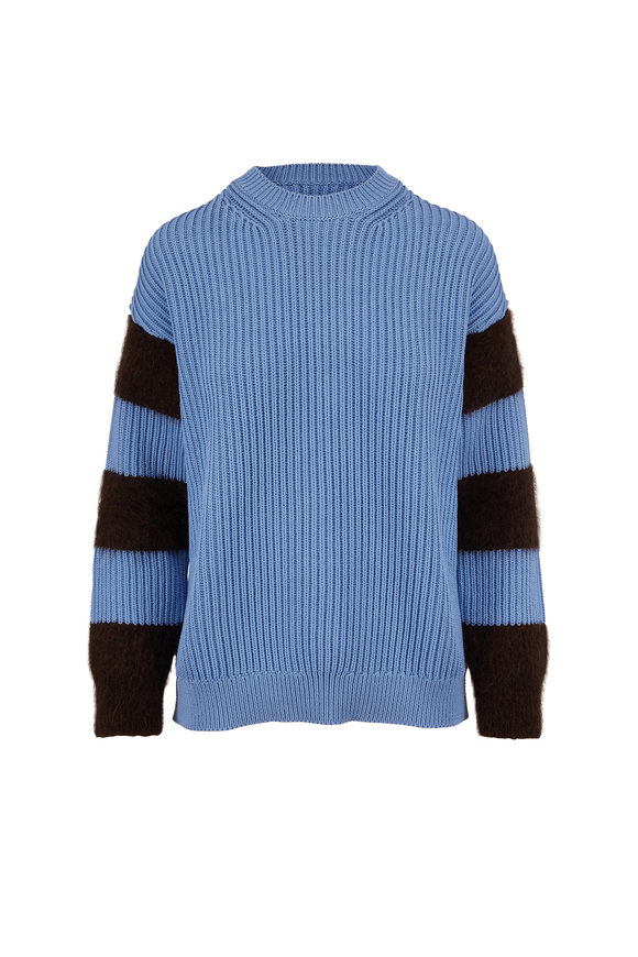 Chinti & Parker Sky Blue & Bitter Chocolate Striped Sleeve Sweater
