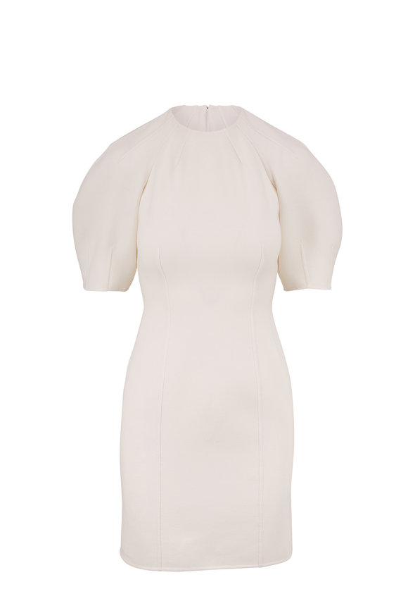 Michael Kors Collection White Bouclé Short Puff Sleeve Dress
