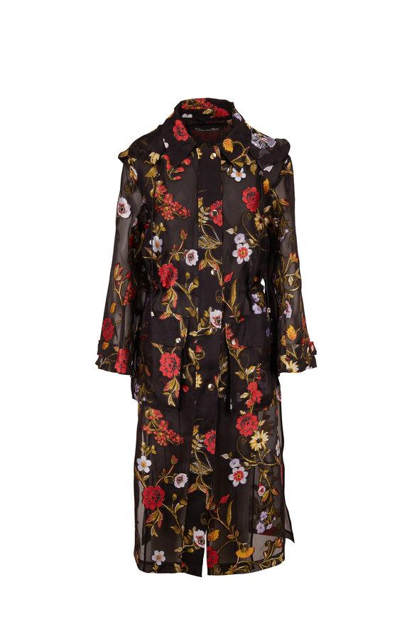 Oscar de la Renta Black Multicolor Botanical Silk Blend Coat