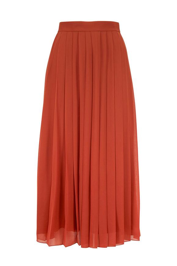 The Row Magda Terracotta Pleated Midi Skirt