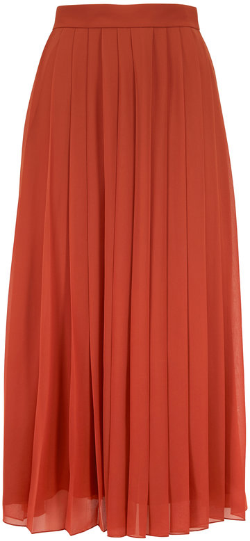 The Row Magda Terracotta Pleated Midi Skirt