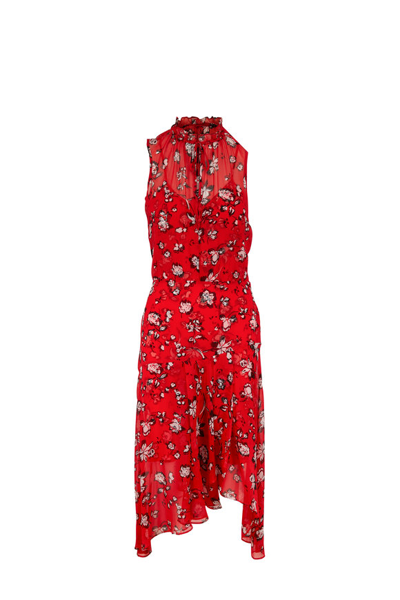 Veronica Beard Corsica Red Multi Floral Sleeveless Dress