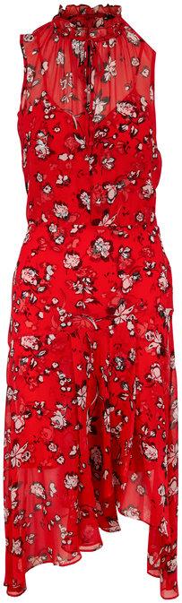 Veronica Beard Corsica Red Multi Floral Sleeveless Dress