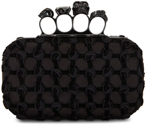 Alexander McQueen Black Satin Roses Four-Ring Knuckle Clutch