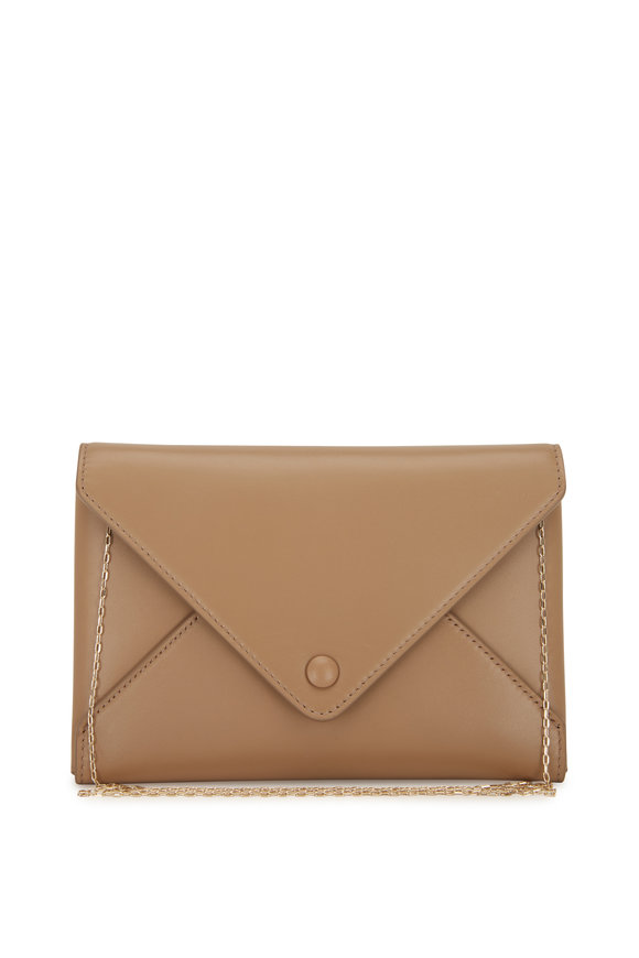 The Row Dark Tan Leather Envelope Crossbody Bag