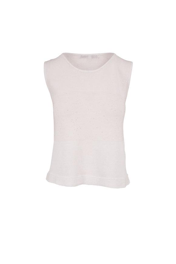 Rani Arabella White Linen & Cotton Paillette Tank Top