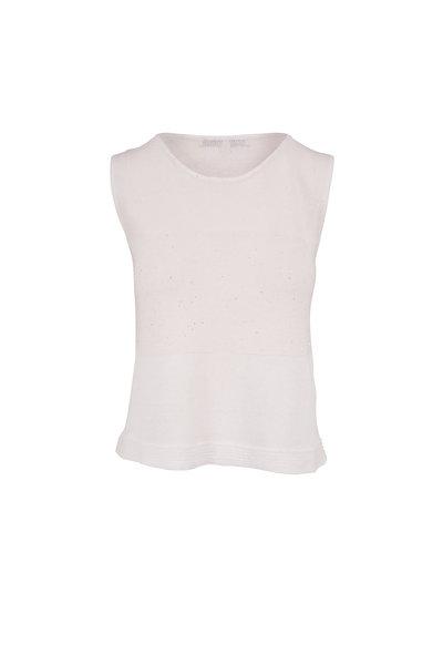 Rani Arabella - White Linen & Cotton Paillette Tank Top