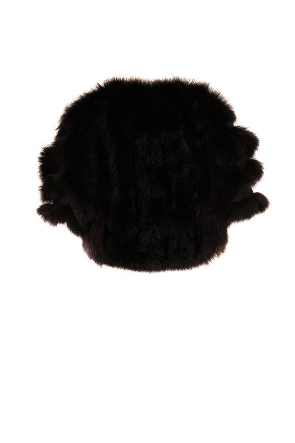 Viktoria Stass Kendal Black Fur & Silk Cape