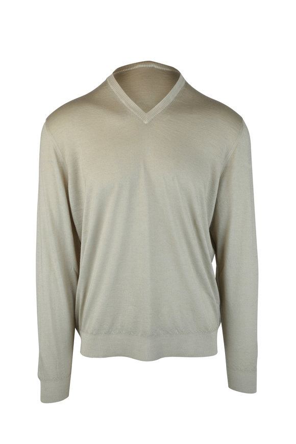 Kiton Light Green Cashmere & Silk Sweater