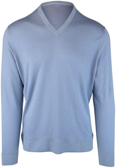 Kiton Light Blue Cashmere & Silk Sweater