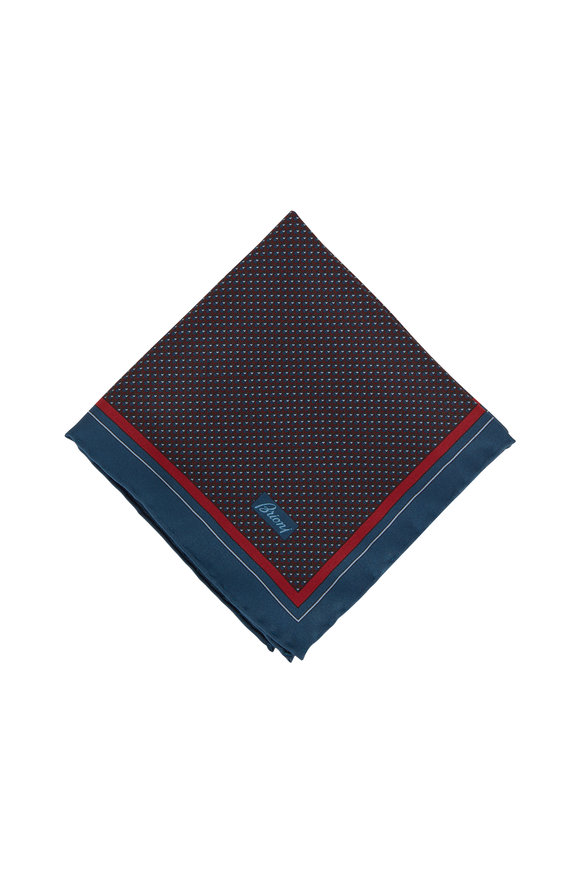Brioni Teal Geometric Silk Pocket Square