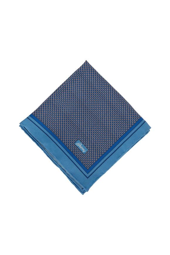Brioni Royal Blue Geometric Silk Pocket Square