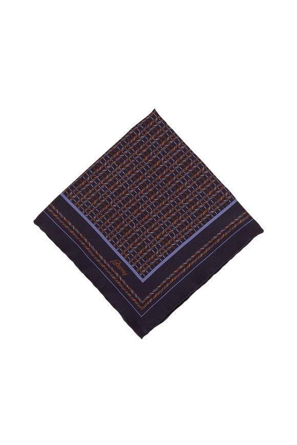 Brioni Navy Geometric Silk Pocket Square
