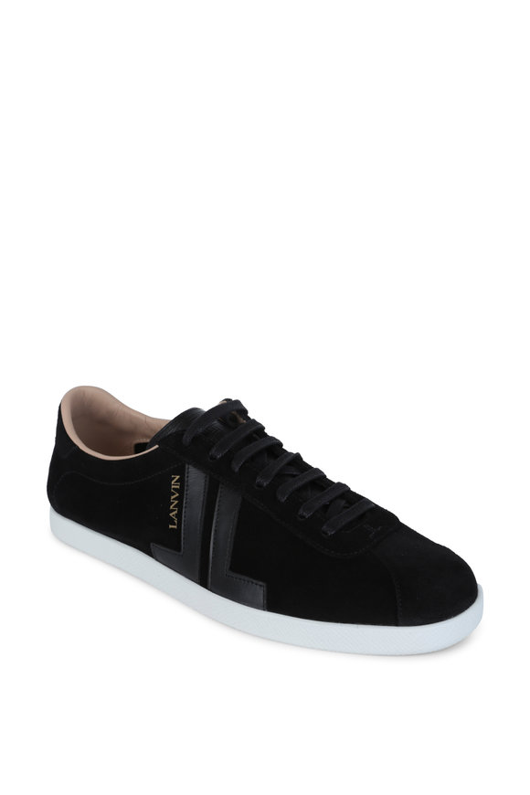 Lanvin JL Black Suede & Leather Low Top Sneaker