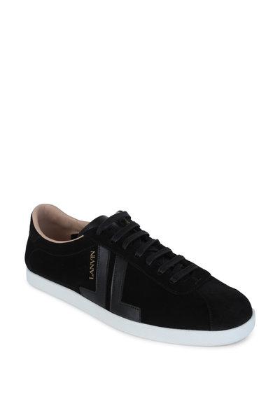 Lanvin - JL Black Suede & Leather Low Top Sneaker