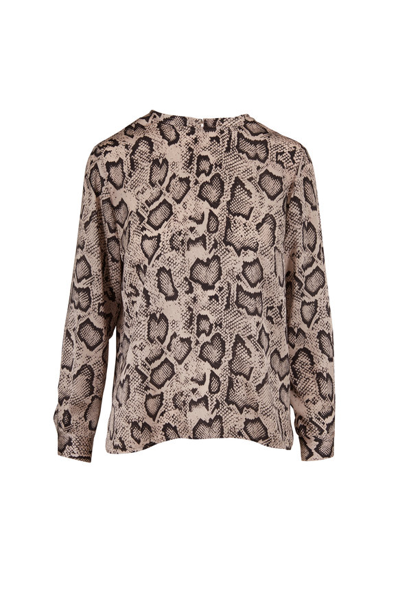 Paule Ka Light Pastel Gray Snake Print Blouse