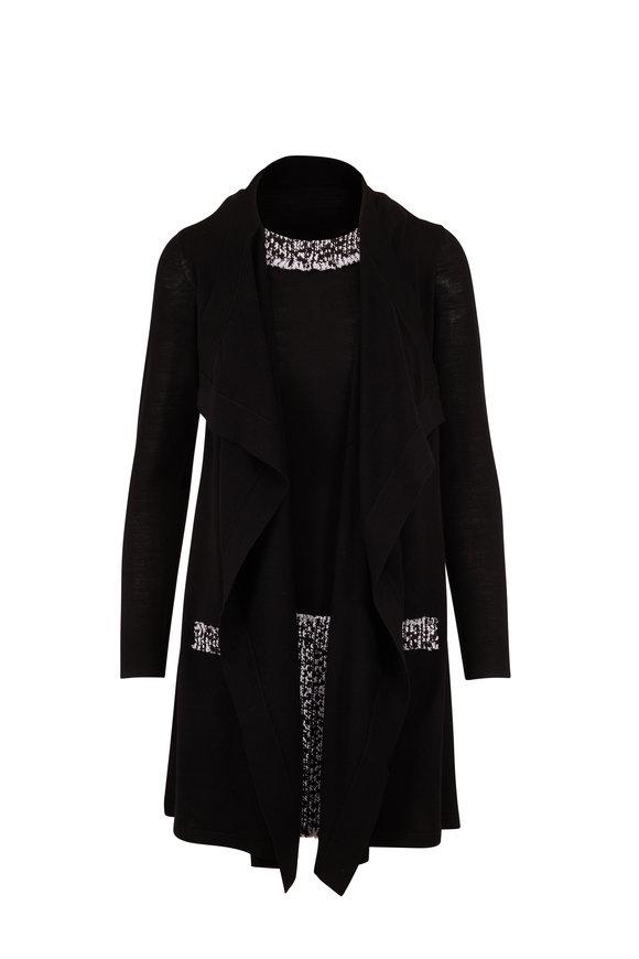Paule Ka Black Wool Draped Cardigan Dress