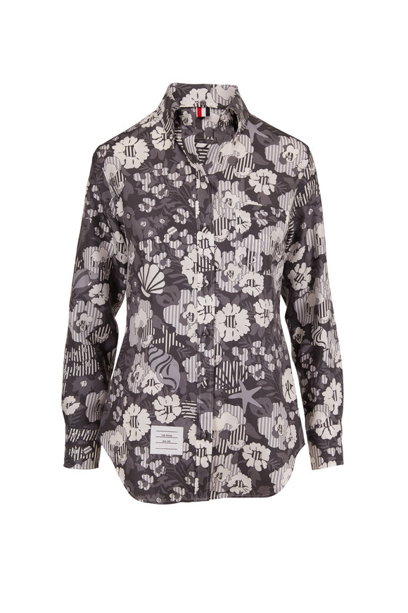 Thom Browne Medium Gray Silk Sunny Floral Print Blouse