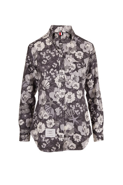 Thom Browne - Medium Gray Silk Sunny Floral Print Blouse
