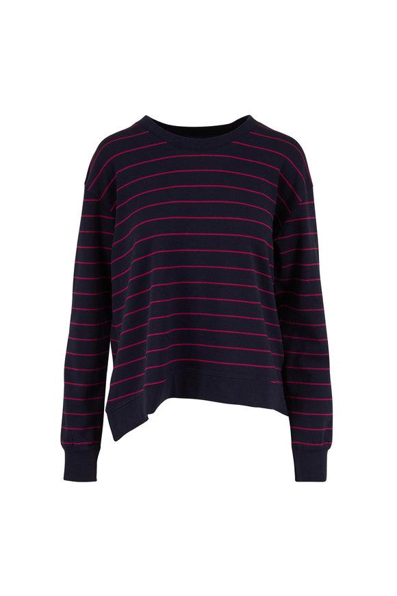 Frank & Eileen Navy Blue & Magenta Stripe Sweatshirt
