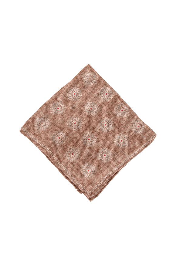 Brunello Cucinelli Beige Floral Linen & Cashmere Pocket Square