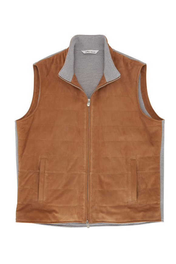 Peter Millar Tan Suede & Wool Front Zip Vest
