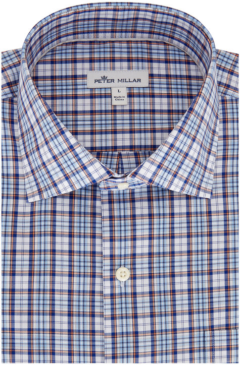 Peter Millar Alister Blue Lapis Plaid Sport Shirt