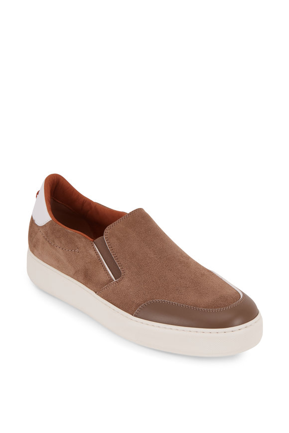 Ermenegildo Zegna Tiziano Medium Brown Suede Slip-On Sneaker