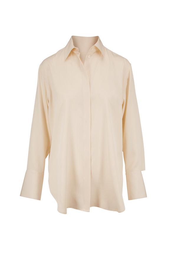 The Row Cody Light Cream Silk Tonal Stripe Blouse