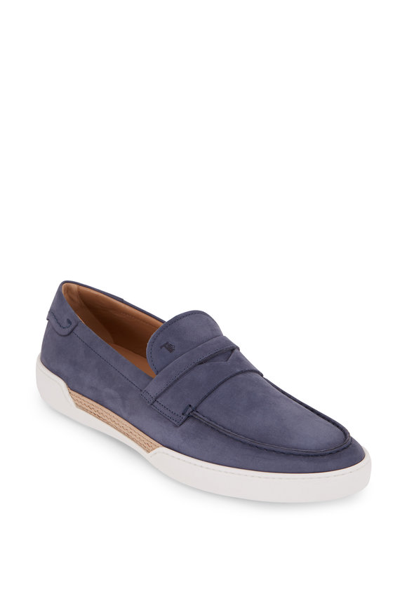 Tod's Mocassino Light Blue Suede & Raffia Penny Loafer