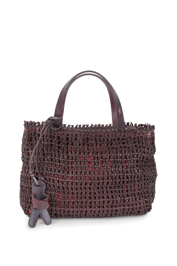 Henry Beguelin Melodi Brown Woven Leather Small Tote