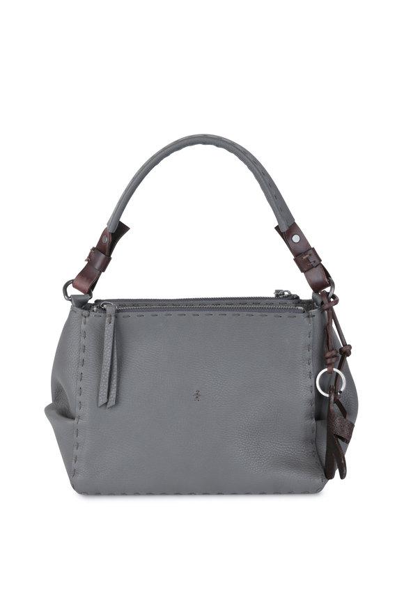 Henry Beguelin Gemmell Anthracite Leather Double-Zip Shoulder Bag
