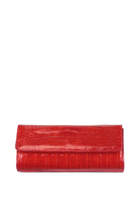Judith Leiber Couture Kate Cherry Red Crocodile Chain Clutch