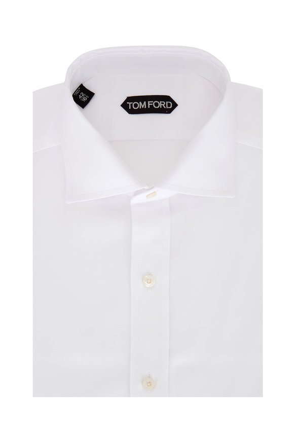 Tom Ford Solid White Structured Oxford Dress Shirt