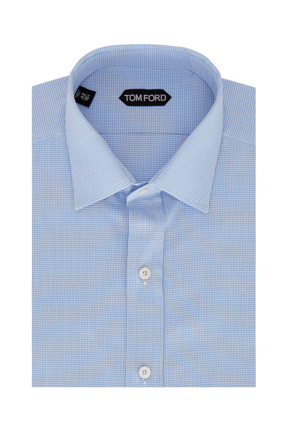 Tom Ford Blue & White Microflame Sport Shirt