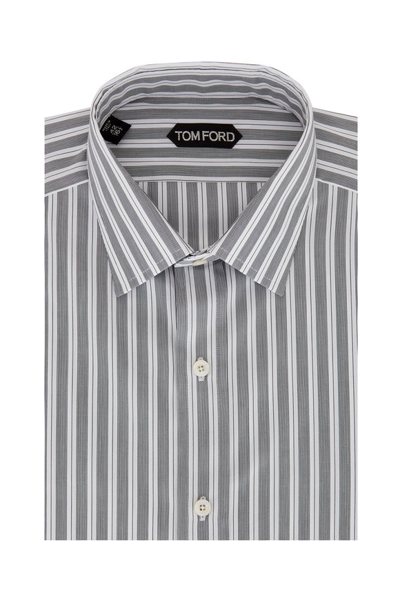 Tom Ford Navy Blue Striped Dress Shirt