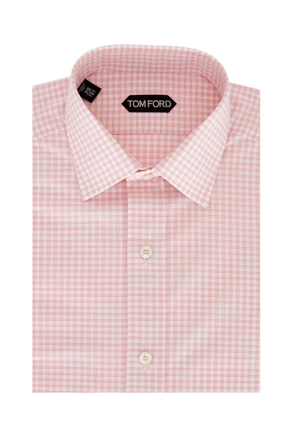 Tom Ford Pink & White Check Dress Shirt
