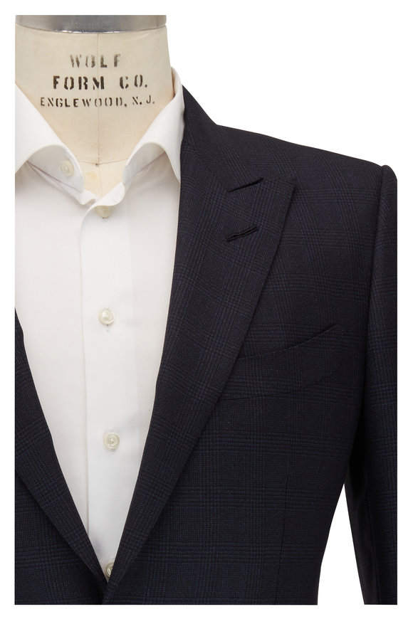 Tom Ford O'Connor Navy Prince of Whales Peak Lapel Suit